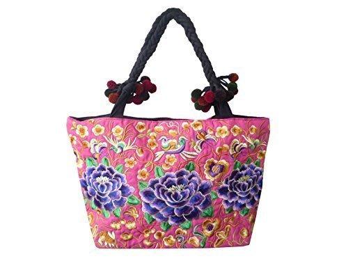 Gran bolso de algodón, bordado a mano tradicional con diseño de flores Hmong, rojo/blanco, 55 x 20 x 38 cm (L x b x H), asa: 66 cm
