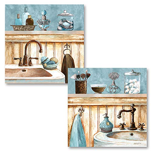 Light Blue and Brown Bathroom Sink and Vanity Prints; 2-12x12 Unframed Paper Posters