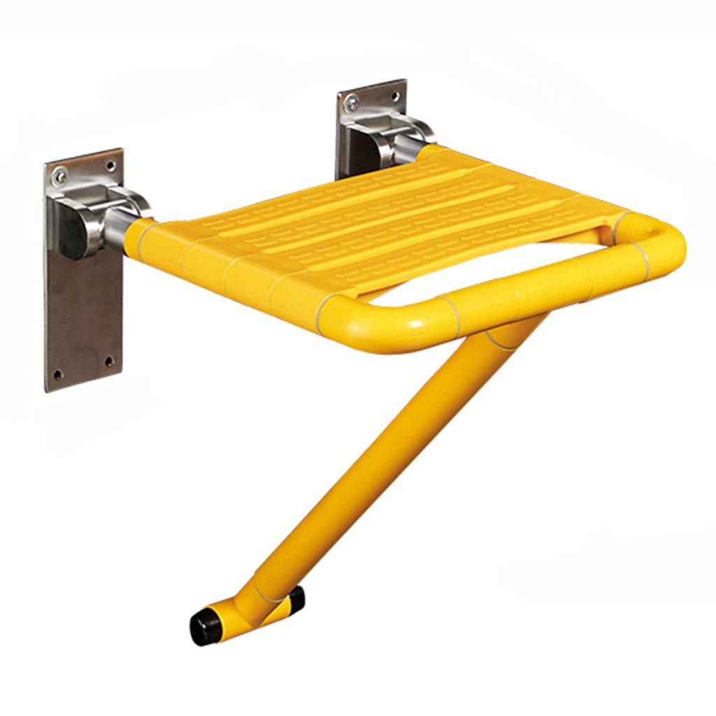 WSSF- シャワーチェア 壁掛けトイレ折り畳み式シャワースツールバスルームステンレススチール製ノンスリップ入浴用シートスツール高齢者用妊娠中の女性 - 黄色、34.5 * 39 * 20cm B07B7L6NLL