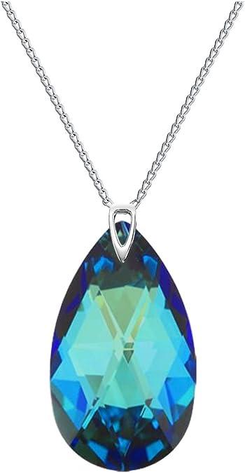 Crystals & Stones beau collier pour femme bleu Bermudes avec pierre  Swarovski Elements 28 mm en forme d'amande. Pendentif, collier, bijou,  cadeau fête ...