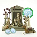 Willow Tree 17 Piece Nativity Set By Susan Lordi with Go Green! Compressed Bamboo Towels