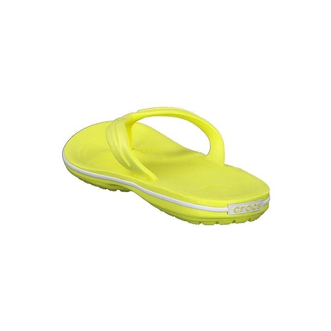 afb932232 Amazon.com  Crocs Unisex Crocband Synthetic Flip-Flops Tennis Ball Green- White Size EU 43-44 - US M10W12  Shoes