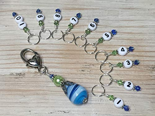 Numbered Stitch Marker Jewelry for Knitting- Blue & Green