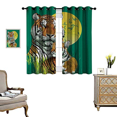 Safari Patterned Drape for Glass Door Tiger Family in Jungle Full Moon Light Night Grass Abstract Waterproof Window Curtain W72 x L45 Jade Green Apricot Light Green