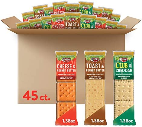 Keebler Sandwich Crackers 3 Flavors Variety Pack - Kids School Lunch Items in Individual Serving Size Packaging (Case incorporates 45 Count)