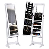 LANGRIA LED Lockable Carved Jewelry Cabinet Standing Jewelry Armoire Holder Organizer with Additional Mirror Inside, White