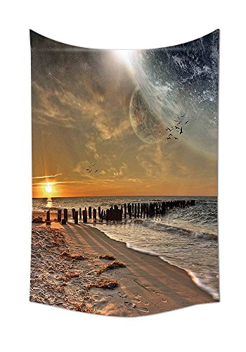 asddcdfdd Space Tapestry Decor Magical Solar Eclipse on Beach Ocean with Horizon Sun Moon Globe Gulls Flying View Wall Hanging for Bedroom Living Room Dorm Cream Orange by asddcdfdd