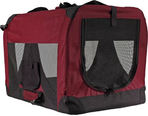 Cheap Red Soft-Sided Medium Folding Pet Travel Carrier Crate