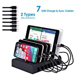 Marstree 7 Port USB Charging Station Multi Device USB Charging Dock Station HUB Desktop Charging Stand Organizer Compatible for iPhone ipad Airpods iwatch Kindle Tablet Multiple Devices
