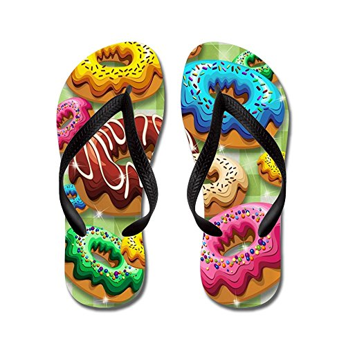 CafePress - Donuts Party Time - Flip Flops, Funny Thong Sandals, Beach Sandals Black