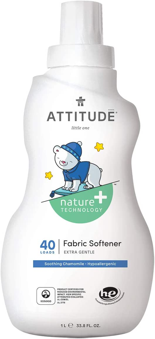 ATTITUDE Baby Fabric Softener, Hypoallergenic, Plant-based, Non-toxic, ECOLOGO Certified, Soothing Chamomile, 33.8 Fluid Ounce, 40 Loads