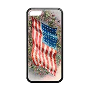 American Flag Flapping In The Wind On The Flower Group Iphone 5c Case Cover Shell(Laser Technology)