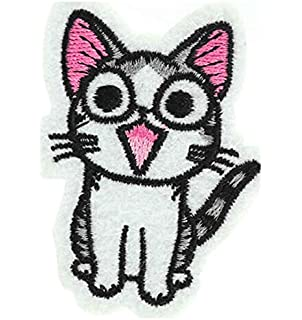 Happy Cat parche bordado hierro en o coser en bordado Diseño de gato amante transferencia apliques