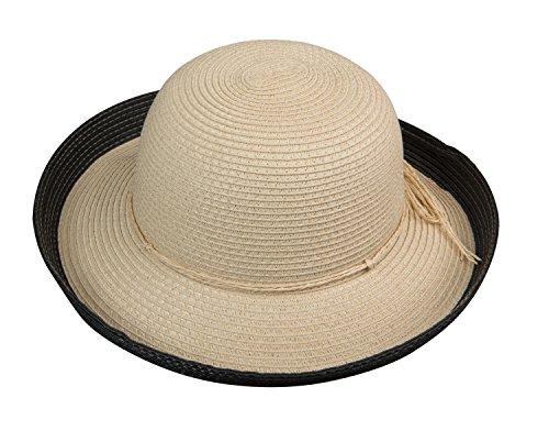Broner Womens Straw Round Crown Hat with Upturned Brim, Black -