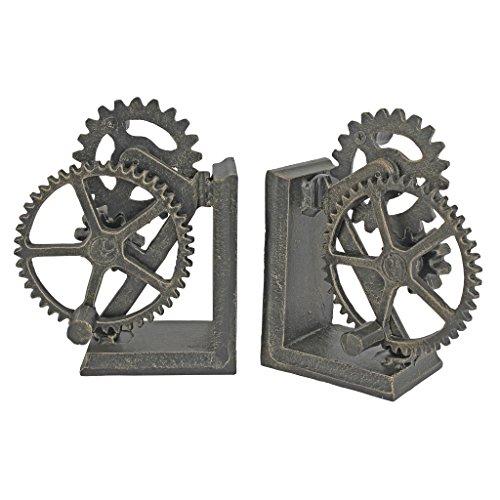 Design Toscano Industrial Gear Sculptural Iron Bookends