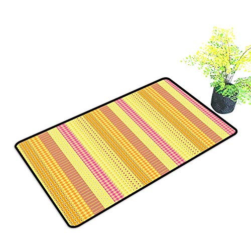 (gmnalahome Large Door Mats Shoes Scraper Strip Mix Patchwork Style Motif Baby Play Yellow Marigold Pink Use for Front Door Entrance W23 x H15 INCH)
