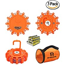 LED Road Flares OMEGAWARE | Emergency Roadside Safety Disc Marine Flashing Light Beacon for Car Truck Boat with Storage Bag and Batteries (Pack of 3 )