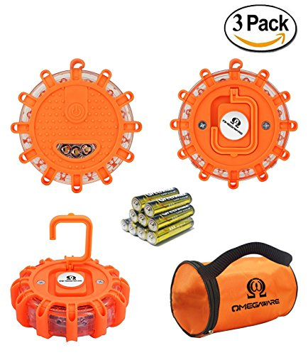 LED Road Flares OMEGAWARE | Emergency Roadside Safety Disc Marine Flashing Light Beacon for Car Truck Boat with Storage Bag and Batteries | ORANGE (Pack of 3 )