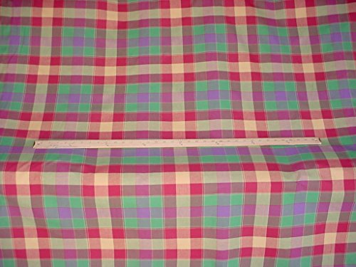 - 14A8 - Mulberry / Rose Red / Purple / Isle Green Woven Reversible Cotton Check / Plaid Designer Upholstery Drapery Fabric - By the Yard
