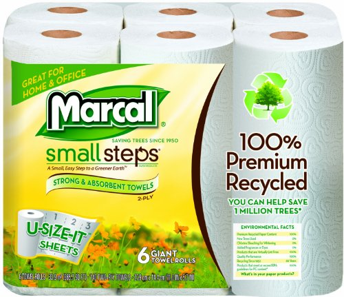 Marcal 6183 Small Steps U Size It Giant Paper Towel Roll, 2-Ply 100% Premium Recycled, 5.7