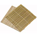 Set of 6 Bamboo Sushi Rolling Mats 9 1/2 Inches Square