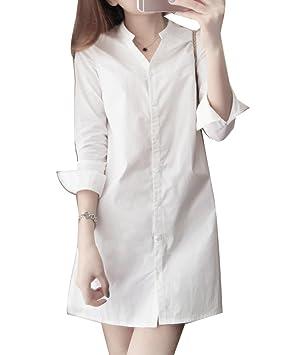 Blusas Largas Para Mujer Camisas Largas Blusas Tunicas Vestidos Cortos Blusa Vestidos De Fiesta blanco S