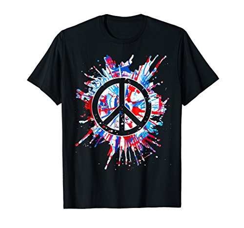 Peace Sign Red White Blue Patriotic Hippie Tie Dye Shirt