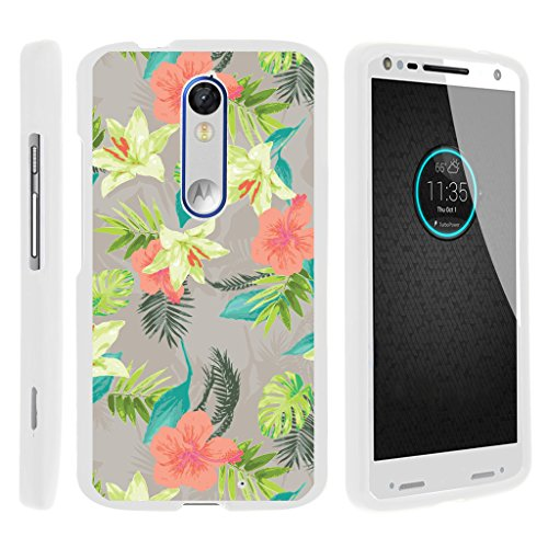 TurtleArmor | Motorola Droid Turbo 2 Case | Moto X Force Case | Kinzie [Slim Duo] Slim Light Snap On 2 Piece Hard Cover Protector Matte Unique Designs on White - Hawaiian Flowers
