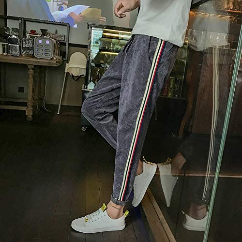 Fall Boys Pants Unique Fashion Trend Men Man Students Loose Pantyhose deft Guy (u4 Gray Corduroy Ribbon