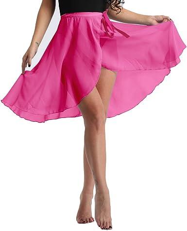 YiZYiF Falda de Danza Ballet para Mujeres Niñas Falda Cruzada para ...