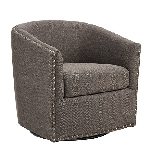 Swivel Barrel Chair - Madison Park MP103-0481 Tyler Swivel Chair - Solid Wood, Plywood, Metal Base Accent Armchair Modern Classic Style Family Room Sofa Furniture, Chocolate