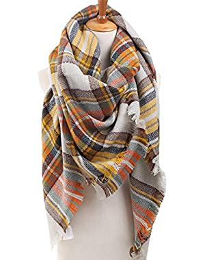Women's Winter Soft Plaid Tartan Checked Scarf Large Blanket Wrap Shawl