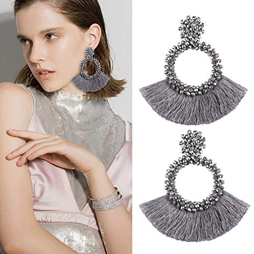 Tassel Bead Statement Earrings for Women Girls Handmade Bohemian Beaded Hoop Round Thread Fringe Dangle Trendy Club Studs Ear Jewelry Accessory Present for Mother Mom with Gushion Gift Box GUE130 Grey
