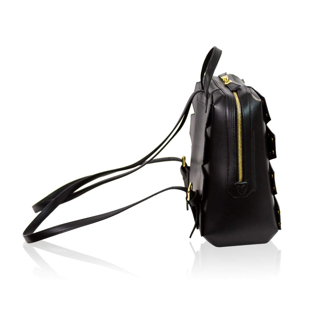 a3d95f5fe76 LCM by Valentino Orlandi Italian Designer Black Leather Backpack Bag w Studs   Amazon.co.uk  Shoes   Bags