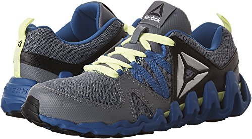 Reebok Kids Boy's Zig Big N' Fast Fire (Big Kid) Asteroid Dust/Silver Metallic/Awesome Blue/Black/Yellow Athletic Shoe (Awesome Shoes For Boys)