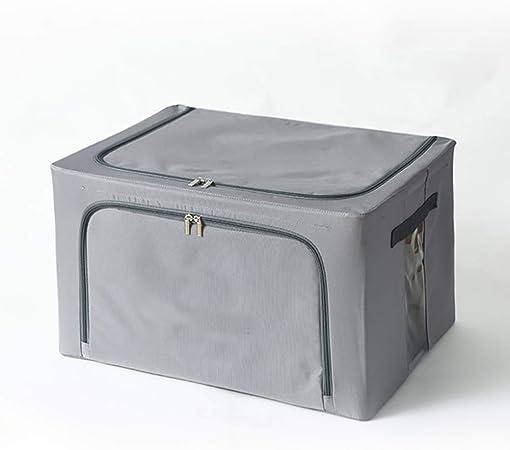 Almacenamiento Plegable Caja contenedor contenedores, Jumbo Gran Capacidad Plegable Armario de Ropa Organizador con Tapa Ventana de visualización Grande con Cremallera -Gris 50x40x31cm: Amazon.es: Hogar