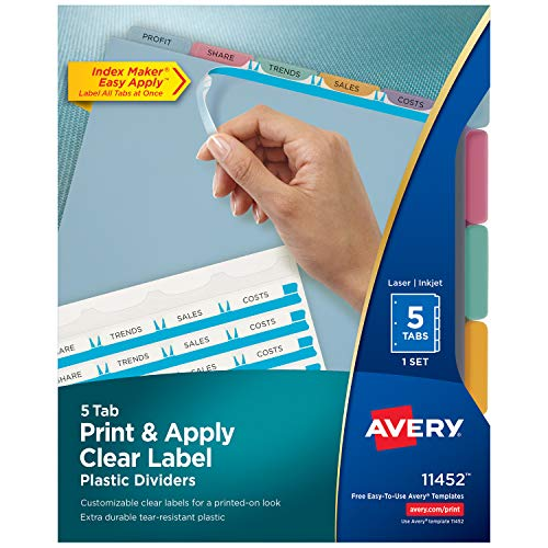 Avery 5-Tab Multicolor Plastic Dividers, Easy Print & Apply Clear Label Strip, Index Maker, 1 Set (11452)