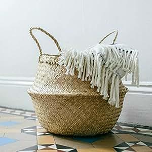 "Natural Seagrass Belly Basket Panier Boule Storage Plush Laundry Basket, Large(18.5"" D x 11.5"" H, Natural)"