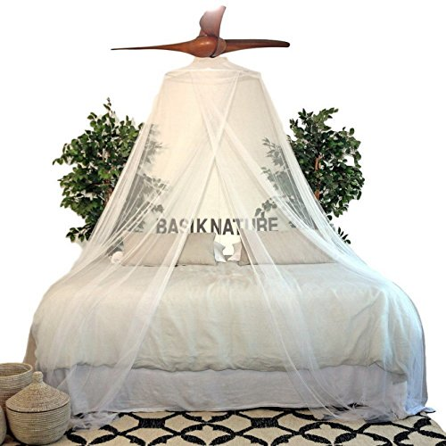 Luxurious Mosquito Net for Queen / King Bed. The Best Insect Protection Inside a Romantic White Tropical Mesh Netting. - Frame Wedding Canopy