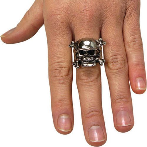 Rubie's Costume Co Adjustable Skull Ring with Pewter Finish, One Size, Multicolor