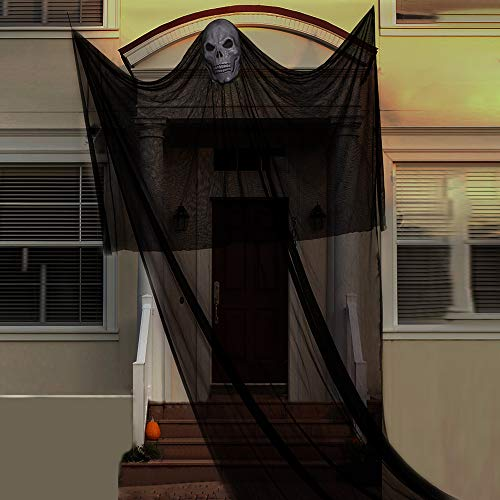 AYOGU 10Ft Hanging Ghost Props for Halloween Decorations,Large Outdoor Spooky Hanging Prop for Halloween Decor (Black)