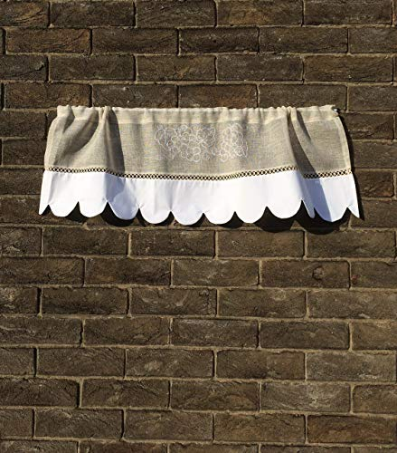 Redwork Kitchen - Custom Grapevine Valance Curtain Sheer Natural Linen Scalloped Kitchen Window Topper