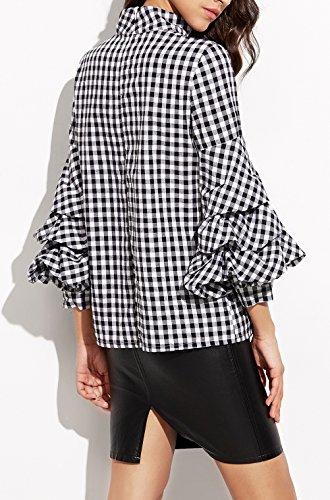 Tops Femme et Carreaux Casual et Lanternes Longues Plaid Blanc Blanc Chemisier Manches Noir Noir Blouse Shirt qxTRrAzq0w