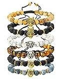 range beads - Finrezio 6PCS Mens Bead Bracelets Set Dragon/Lion/Panther Charm Lava Rock Natural Stone Bracelet, 8MM (Style B: 6Pcs of Adjustable)