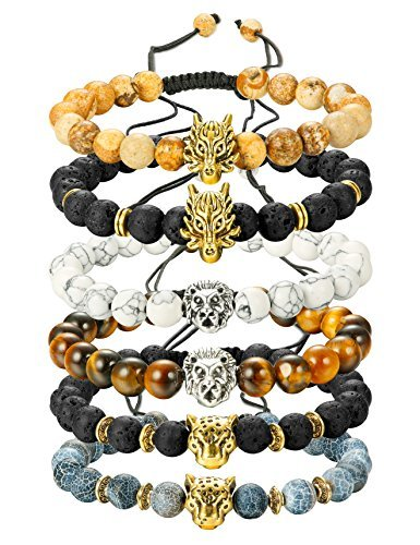 - Finrezio 6PCS Mens Bead Bracelets Set Dragon/Lion/Panther Charm Lava Rock Natural Stone Bracelet, 8MM (Style B: 6Pcs of Adjustable)