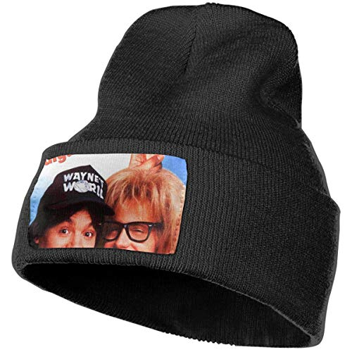 MKevinC Fashion Unisex Wayne's World 2 Logo Beanie Fashion Unisex Embroidery Beanies Skullies Knitted Hats Skull Caps Black