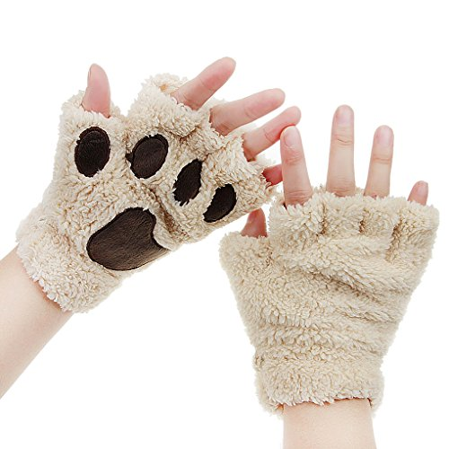 Womens Bear Plush Cat Paw Claw Gloves Soft Faux Fur Winter Warm Fingerless Gloves Mitten Hallowmas Cosplay Costume Christmas Present