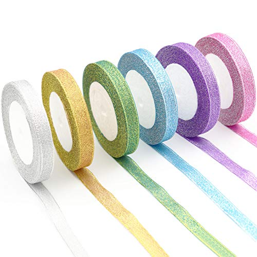 6pcs Sparkle Organza Ribbon for Gift Wrapping,Hair Bows,Floral Ribbon Crafts((6 x 25 Yards) by Alyan&Jammsy