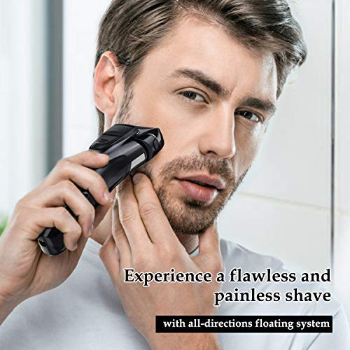 Electric Razor for Men, Hizek Men s Electric Shaver Cordless Foil Shaver with Pop-up Trimmer,USB Quick Charging,LCD Display,Waterproof Design for Body Hair and Beard Style