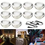 FVTLED 10pcs Low Voltage 1.5W LED Deck Lighting Kit 2-2/5'' 60mm Stainless Steel Waterproof Outdoor Recessed Yard Garden Decoration Lamp Patio Stairs Landscape Pathway Step Light, Warm White
